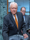 United States Senator Orrin Hatch (Republican of Utah), chairman, US Senate Committee on Finance, arrives to question witnesses during a confirmation hearing on Capitol Hill in Washington, DC on Wednesday, August 22, 2018.<br /> Credit: Ron Sachs / CNP