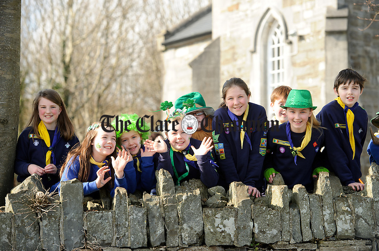 Local scouts and girl guides at the St. Patrick's Day parade in Ennistymon. Photograph by John Kelly.