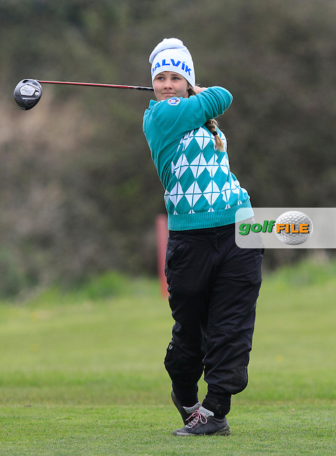 Olof Einardottir (ICE) on the 8th tee during Round 3 of The Irish Girls Open Strokeplay Championship in Roganstown Golf Club on Sunday 19th April 2015.<br /> Picture:  Thos Caffrey / www.golffile.ie