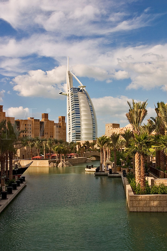 Dubai, United Arab Emirates. Madinat Jumeirah. Burj al Arab Hotel, .Mina A'Salam Hotel and Conference Centre..