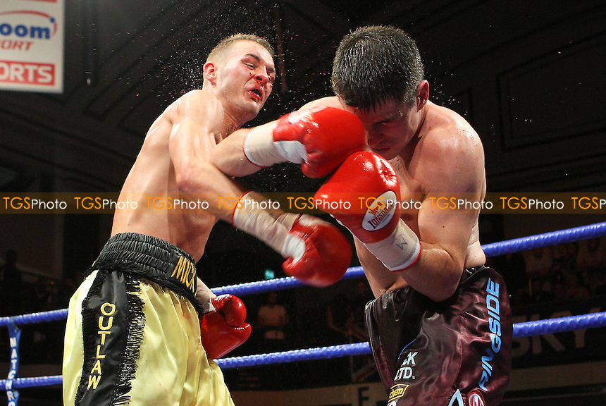 Matthew Marsh (claret shorts) defeats Josh Wale in a Super-Bantamweight boxing contest at York Hall, Bethnal Green, promoted by Matchroom Sports / Barry Hearn - 18/09/09 - MANDATORY CREDIT: Gavin Ellis/TGSPHOTO - Self billing applies where appropriate - Tel: 0845 094 6026
