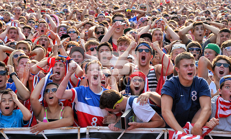 Chicago, IL., - Sunday, June 22, 2014: U.S. fans celebrate and take part in the World Cup festivities and watch the Group G match  between the USMNT vs. Portugal, during the World Cup viewing party hosted by U.S. Soccer at Grant Park.