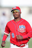 Inland Empire 66'ers shortstop Jean Segura #8 before a game against the Stockton Ports at Arrowhead Credit Union Park on September 4, 2011 in San Bernardino,California. Stockton defeated Inland Empire 3-0.(Larry Goren/Four Seam Images)