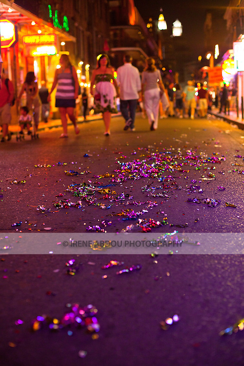 "After Madden Gras, colored ribbons line the ground of Bourbon Street in New Orleans's French Quarter.  EA Sports, creator of the popular ""Madden NFL"" game, celebrates the release of the 2011 game edition with Madden Gras 2011, starring the New Orleans Saints.  Madden Gras 2011 culminates with a Mardi-Gras-style parade through the French Quarter of New Orleans to Jackson Square."