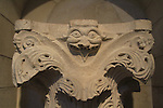 Acanthus capital decorated with a monster from the Church of the Annunciation, Nazareth, 12th century, on display at the Rockefeller Museum