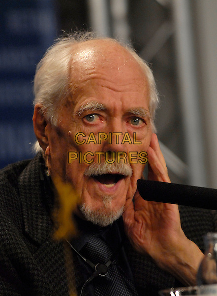"""ROBERT ALTMAN .Photocall for """"A Prairie Home Companion"""" at the 56th Berlin (Berlinale) Film Festival, Berlin, Germany..February 12th, 2006.Ref: KRA.headshot portrait mustache goatee facial hair mouth open.www.capitalpictures.com.sales@capitalpictures.com.©Capital Pictures"""