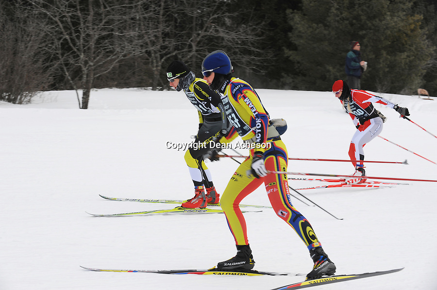 Kristina Strandberg (No. 1057) and other members of the elite women's division in the early going of the 2008 Subaru American Birkebeiner. Strandberg, of Bend, Oregon, placed second in a time of 2:24:22 in the freestyle race that took skiers from Cable to downtown Hayward, Wis. on Saturday, Feb. 23.