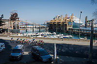 the breakaway group next to the harbour<br /> <br /> 110th Milano-Sanremo 2019 (ITA)<br /> One day race from Milano to Sanremo (291km)<br /> <br /> ©kramon