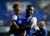 Ipswich Town's Aristote Nsiala with his daughter <br /> <br /> Photographer Hannah Fountain/CameraSport<br /> <br /> The EFL Sky Bet Championship - Ipswich Town v Swansea City - Monday 22nd April 2019 - Portman Road - Ipswich<br /> <br /> World Copyright © 2019 CameraSport. All rights reserved. 43 Linden Ave. Countesthorpe. Leicester. England. LE8 5PG - Tel: +44 (0) 116 277 4147 - admin@camerasport.com - www.camerasport.com