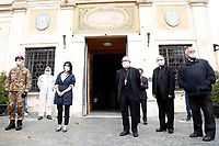 The Mayor of Rome Virginia Raggi<br /> Roma May 13th 2020. Due to the next reopening of the religious celebrations scheduled on May 18th, the Italian Army, together with the municipality operators at the specific request of the Vicariate of Rome, started today the sanitation activities of the external and internal areas of the Capitoline Churches through its specialized teams in the Chemical, Biological, Radiological and Nuclear (CBRN) fields. <br /> Photo Samantha Zucchi Insidefoto