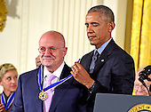 United States President Barack Obama presents the Presidential Medal of Freedom to Eduardo Padrón, President, Miami Dade College (MDC), during a ceremony in the East Room of the White House in Washington, DC on Tuesday, November 22, 2016.  The Presidential Medal of Freedom is the Nation's highest civilian honor.<br /> Credit: Ron Sachs / CNP