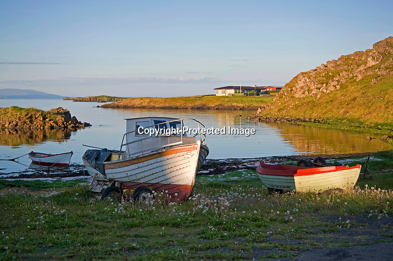 Boats Resting in Quiet Harbor at Dusk in Stykkisholmur in Iceland
