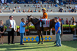 DEL MAR, CA  AUGUST 4: #11 Cambodia, ridden by Drayden Van Dyke, in the winners circle after winning the Yellow Ribbon Handicap (Grade ll) on August 4, 2018 at Del Mar Thoroughbred Club in Del Mar, CA.(Photo by Casey Phillips/Eclipse Sportswire/ Getty Images)