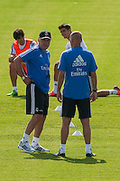 Coach, Carlo Ancelotti, speaks with his assistant Zidane during Real Madrid´s first training session of 2013-14 seson. July 15, 2013. (ALTERPHOTOS/Victor Blanco) ©NortePhoto