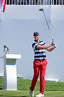 Daniel Berger (USA) watches his tee shot on 1 during round 4 Singles of the 2017 President's Cup, Liberty National Golf Club, Jersey City, New Jersey, USA. 10/1/2017. <br /> Picture: Golffile | Ken Murray<br /> <br /> All photo usage must carry mandatory copyright credit (&copy; Golffile | Ken Murray)