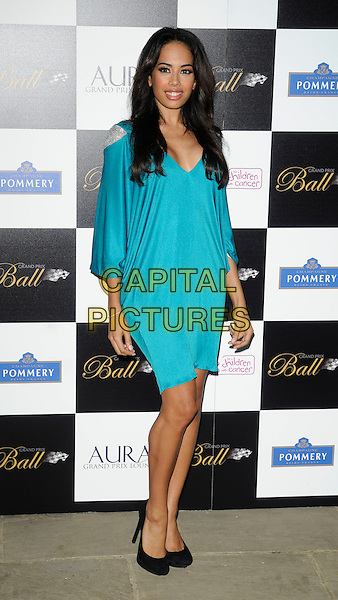JADE EWEN (SUGABABES).Attending The Grand Prix Ball at The Hurlingham Club, London, England, .UK, 7th July 2010. .full length blue teal turquoise dress black shoes silver shoulder insert v-neck .CAP/CAN.©Can Nguyen/Capital Pictures.
