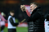 Aston Villa Manager, Dean Smith applauds the away fans ahead of kick-off during Brentford vs Aston Villa, Sky Bet EFL Championship Football at Griffin Park on 13th February 2019
