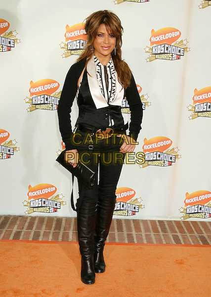 PAULA ABDUL.20th Annual Nickelodeon Kids' Choice Awards held at UCLA's Pauley Pavilion, Westwood, California, USA,.31 March 2007..full length black and white top shirt waistcoat jeans boots YSL logo belt.CAP/ADM/RE.©Russ Elliot/AdMedia/Capital Pictures.