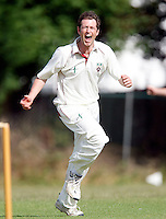 M Tucker of Hornsey celebrates after dismissing Harrow batsman G Herath during the Middlesex County Cricket League Division Three game between Harrow Town and Hornsey at Rayners Lane on Sat 4 July, 2009.