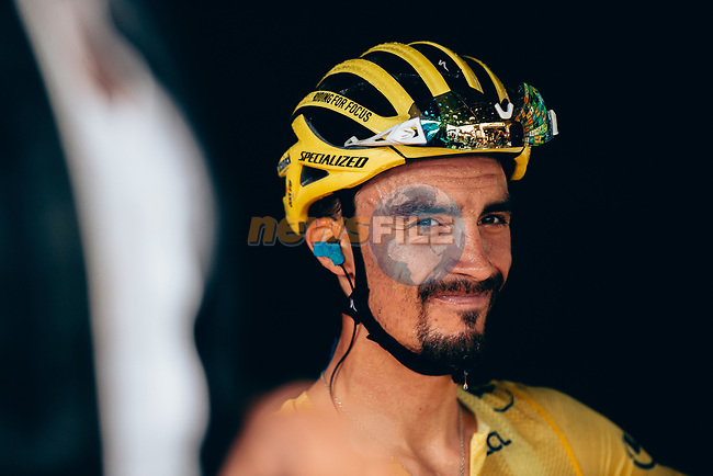 Race leader Julian Alaphilippe (FRA) Deceuninck-Quick Step loses time but retains the Yellow Jersey as he crosses the finish line in 11th place at the end of Stage 15 of the 2019 Tour de France running 185km from Limoux to Foix Prat d'Albis, France. 20th July 2019.<br /> Picture: ASO/Thomas Maheux | Cyclefile<br /> All photos usage must carry mandatory copyright credit (© Cyclefile | ASO/Thomas Maheux)