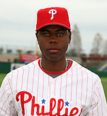 February 24, 2010:  Outfielder John Mayberry Jr. (40) of the Philadelphia Phillies poses during photo day at Bright House Field in Clearwater, FL.  Photo By Mike Janes/Four Seam Images
