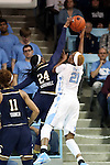 22 January 2017: Notre Dame's Arike Ogunbowale (24) blocks a shot by North Carolina's Alyssa Okoene (21). The University of North Carolina Tar Heels hosted the University of Notre Dame Fighting Irish at Carmichael Arena in Chapel Hill, North Carolina in a 2016-17 NCAA Division I Women's Basketball game. Notre Dame won the game 77-55