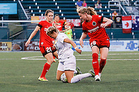 Rochester, NY - Friday June 17, 2016: Portland Thorns FC forward Mallory Weber (26),Portland Thorns FC midfielder Amandine Henry (28), Western New York Flash midfielder Makenzy Doniak (3) during a regular season National Women's Soccer League (NWSL) match between the Western New York Flash and the Portland Thorns FC at Rochester Rhinos Stadium.