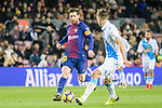 Lionel Messi of FC Barcelona (L) in action against Fabian Lukas Schar of RC Deportivo La Coruna (R) during the La Liga 2017-18 match between FC Barcelona and Deportivo La Coruna at Camp Nou Stadium on 17 December 2017 in Barcelona, Spain. Photo by Vicens Gimenez / Power Sport Images