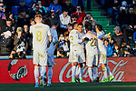 Players of Real Madrid celebrate goal during La Liga match between Getafe CF and Real Madrid at Coliseum Alfonso Perez in Getafe, Spain. January 04, 2020. (ALTERPHOTOS/A. Perez Meca)