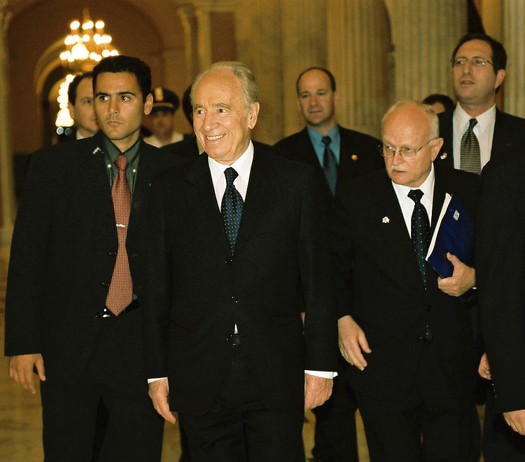 10/23/01.PERES/HOUSE INTERNATIONAL RELATIONS--Israel Foreign Minister Shimon Peres, middle, arrives for a meeting with the House International Relations Committee..CONGRESSIONAL QUARTERLY PHOTO BY SCOTT J. FERRELL