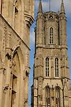 Belfort - Belfry (foreground) and St Baakskathedraal - Bavo Cathedral, Ghent, Belgium, Europe