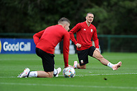 James Chester of Wales stretches during the Wales Training Session at The Vale Resort in Cardiff, Wales, UK. Monday 8 October 2018