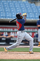 Xavier LeGrant (23) of Phillip O Berry High School in Charlotte, North Carolina playing for the Cleveland Indians scout team during the East Coast Pro Showcase on August 2, 2014 at NBT Bank Stadium in Syracuse, New York.  (Mike Janes/Four Seam Images)