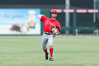 AZL Angels center fielder Jordyn Adams (21) warms up before an Arizona League game against the AZL Diamondbacks at Tempe Diablo Stadium on July 16, 2018 in Tempe, Arizona. The AZL Diamondbacks defeated the AZL Angels by a score of 4-3. (Zachary Lucy/Four Seam Images)