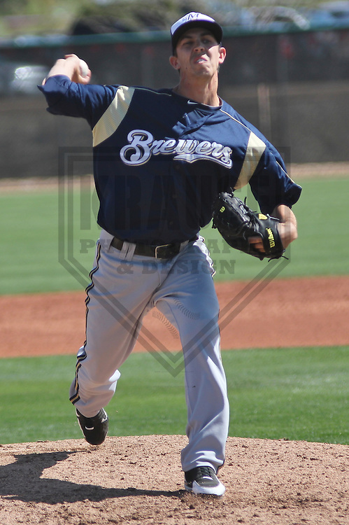 GLENDALE - March 2013:  Casey Medlen of the Milwaukee Brewers during a Spring Training game against the Los Angeles Dodgers on March 22, 2013 at Camelback Ranch in Glendale, Arizona.  (Photo by Brad Krause). .