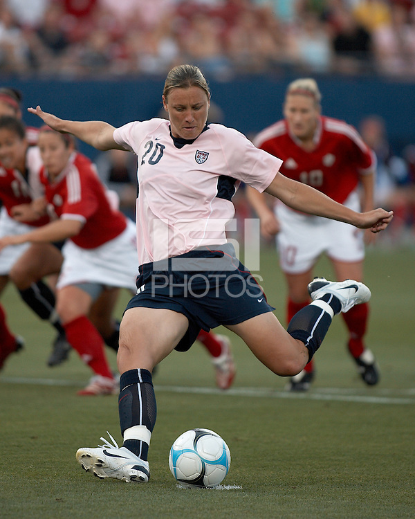 U.S. forward Abby Wambach takes a penalty kick. U.S. beat Canada 6-2 at Pizza Hut Park in Frisco, TX on May 12, 2007.
