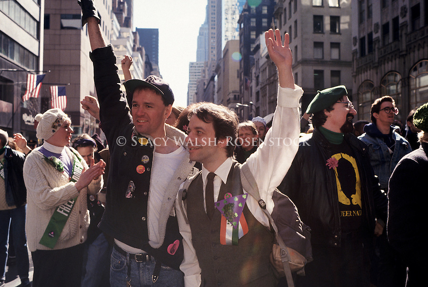 New York, NY - 16 March 1991 - Robert Rygor ( 1953 - Feb 1994) and Brendan Faye, of ILGO (The Irish Lesbian and Gay Organization) march up FIfth Avenue in the St. Patrick's Day Parade.