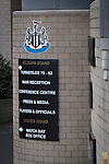 Newcastle United 1 Tottenham Hotspur 3 19/04/2015. St James Park, Premier League. The club crest and information sign on the exterior of the Milburn Stand of the stadium before Newcastle United host Tottenham Hotspurs in an English Premier League match at St. James' Park. The match was boycotted by a section of the home support critical of the role of owner Mike Ashley and sponsorship by a payday loan company. The match was won by Spurs by 3-1, watched by 47,427, the lowest league gate of the season at the stadium. Photo by Colin McPherson.