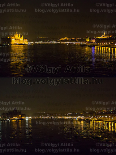 Combination photo of the Hungarian capitol city with the Parliament (L), Chain Bridge (2nd L), the Royal Castle (2nd R) and Mathias Church (R) during the Earth Hour before (above) and after (below) the lights went off in Budapest, Hungary on March 23, 2013. ATTILA VOLGYI