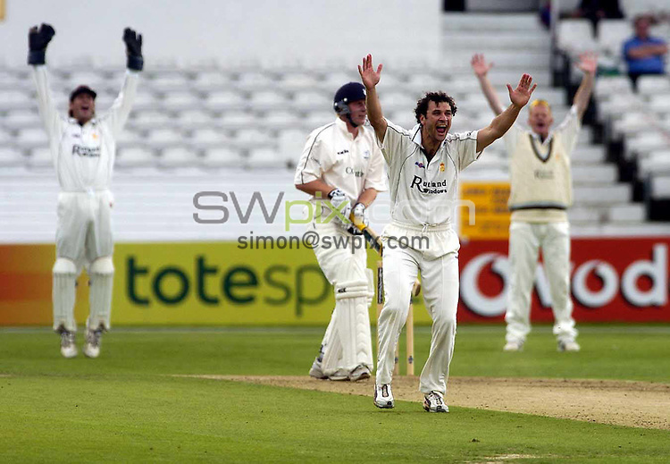 .PICTURE BY :Chris Whiteoak/SWpix.com. Frizzell County Championship, Yorkshire v Derbyshire, Headingley, Leeds, 12/8/2004..?COPYRIGHT PICTURE>>SIMON WILKINSON>>0870 0920092>>..Yorkshire's Andrew Gale is given out LBW off the bowling of Derbyshire's Jon Moss