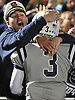 Oceanside senior Kevin O'Keefe, left, celebrates in the stands with No. 3 Ryan Penna after the Sailors' 31-22 win over Massapequa in a Nassau County varsity football Conference I semifinal at Hofstra University on Saturday, Nov. 14, 2015. The victory vaulted Oceanside into the county final for the first time since 1977.<br /> <br /> James Escher