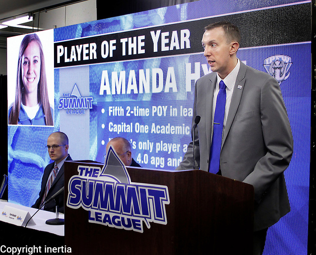 SIOUX FALLS, S.D. -- March 6, 2014 -- Summit League Assistant Commissioner for Communications David Brauer speaks during a press conference Thursday at the Sioux Falls Arena.  The league announced its players of the year and heard a statement  from commissioner Tom Douple before opening up to questions from local media.  (Photo by Dick Carlson/Inertia)