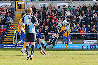 Garry Thompson of Wycombe Wanderers attempts an overhead kick during the Sky Bet League 2 match between Wycombe Wanderers and Mansfield Town at Adams Park, High Wycombe, England on 25 March 2016. Photo by David Horn.