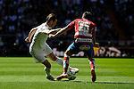 Real Madrid´s Gareth Bale and Granada´s Juan Carlos Perez during 2014-15 La Liga match between Real Madrid and Granada at Santiago Bernabeu stadium in Madrid, Spain. April 05, 2015. (ALTERPHOTOS/Luis Fernandez)