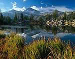 Wallowa-Whitman National Forest, OR<br /> Morning light on Eagle Cap peak with reflections from the grassy shore of Sunshine Lake in the Lake Basin of the Eagle Cap Wilderness