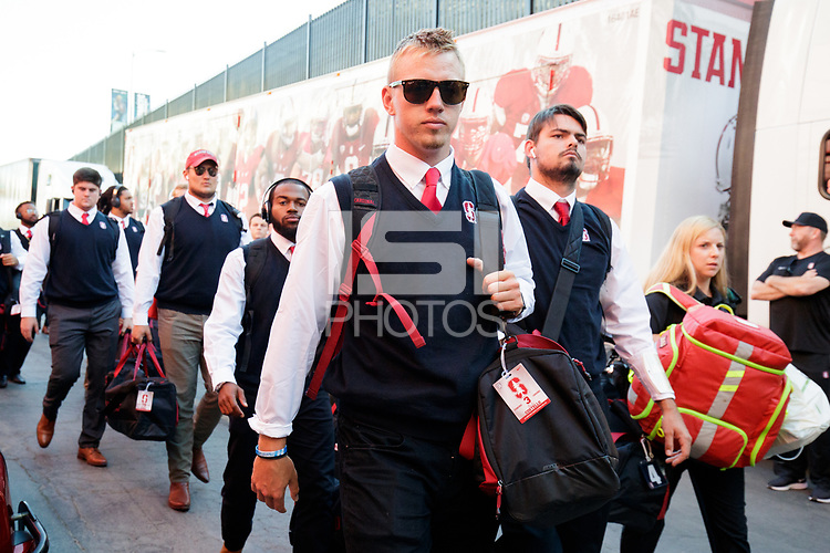 LOS ANGELES, CA - SEPTEMBER 7: K.J. Costello #3 of the Stanford Cardinal arrives at LA Memorial Coliseum during a game between USC and Stanford Football at Los Angeles Memorial Coliseum on September 7, 2019 in Los Angeles, California.