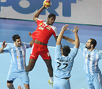 18.01.2013 Barcelona, Spain. IHF men's world championship, prelimanary round. Picture show Wael Jallouz   in action during game between Arnetina vs Tunisia at Palau St Jordi