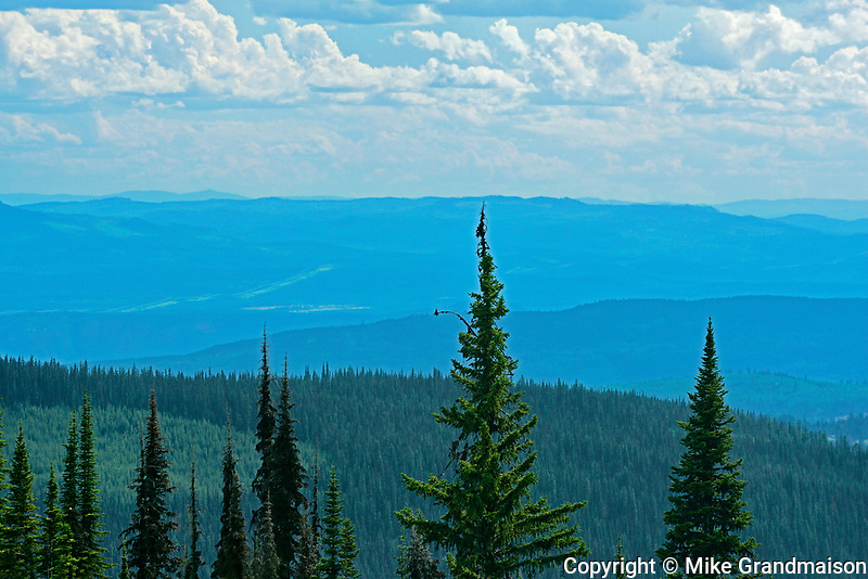 View of mountains from summit of SunPeaks, Sunpeaks near Kamloops, British Columbia, Canada