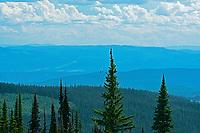 View of mountains from summit of SunPeaks, Sunpeaks near Kamloops, British Columbia, Canada