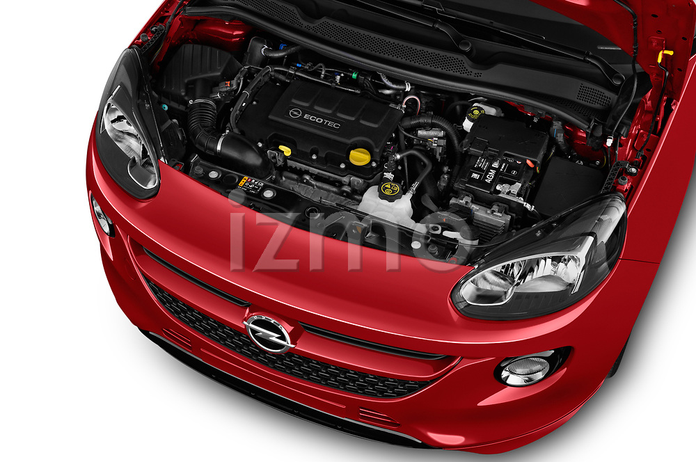 Car stock 2017 Opel Adam S 3 Door Hatchback engine high angle detail view
